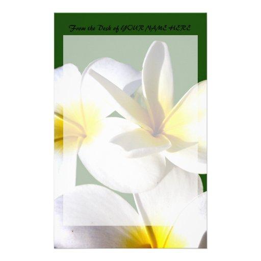 la planta del ti florece la parte posterior blanca papelería personalizada