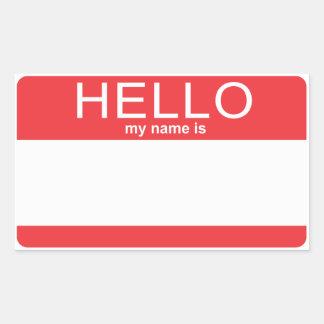 La plantilla de encargo hola mi nombre es pegatina rectangular