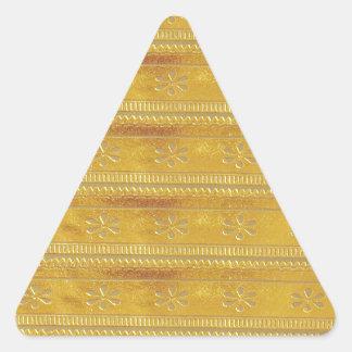 La plantilla de oro del oro añade palabra de la pegatina triangular
