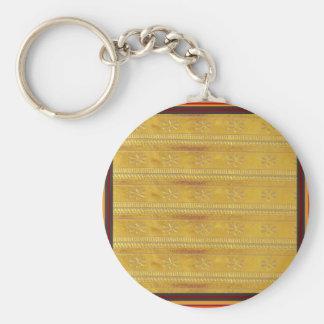 La plantilla de oro DIY de la tela de seda añade Llavero Redondo Tipo Pin