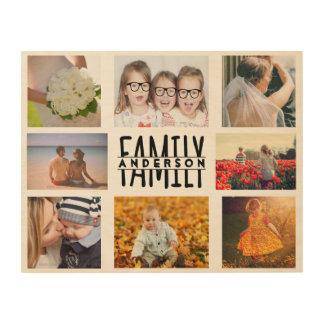 La plantilla del collage de la foto de la familia cuadros de madera