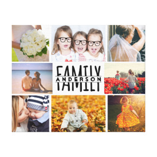 La plantilla del collage de la foto de la familia impresión en lienzo
