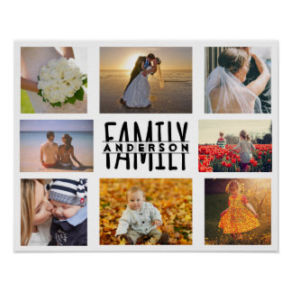 La plantilla del collage de la foto de la familia póster