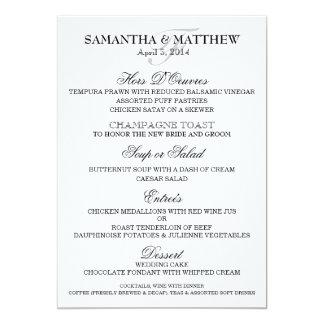 La plantilla del menú del boda PERSONALIZA Invitación 12,7 X 17,8 Cm