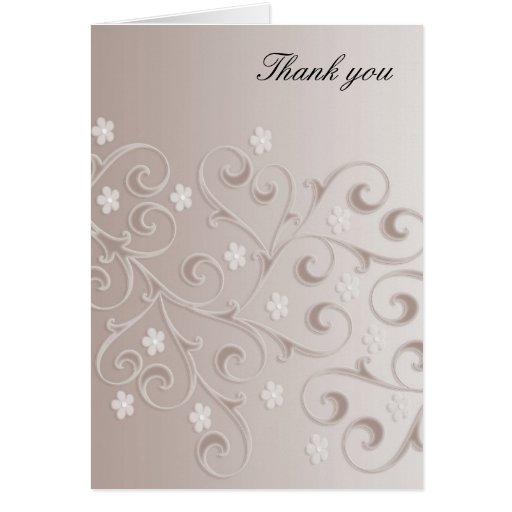 La plantilla floral gris de los remolinos le tarjeta de felicitación