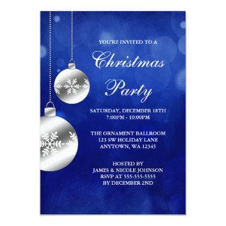 """La plata adorna a la fiesta de Navidad azul de Invitación 5"""" X 7"""""""