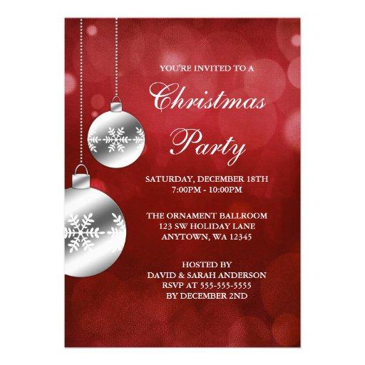 La plata adorna a la fiesta de Navidad roja de Bok Invitaciones Personalizada