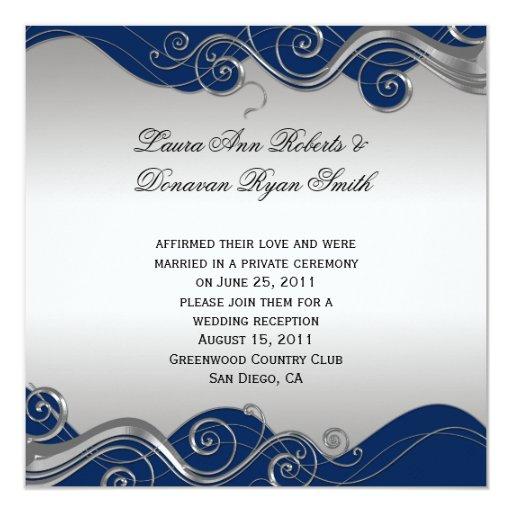 """La plata adornada de los azules marinos remolina invitación 5.25"""" x 5.25"""""""