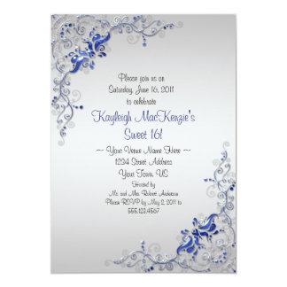 La plata azul adornada remolina en el dulce de invitación 12,7 x 17,8 cm