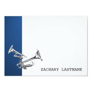 """La plata azul de la trompeta le agradece tarjeta invitación 4.5"""" x 6.25"""""""