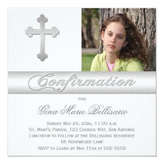 La plata blanca raya la invitación de la foto de invitación 13,3 cm x 13,3cm