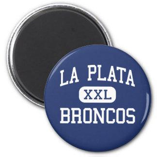 La Plata Broncos Middle Silver City 2 Inch Round Magnet