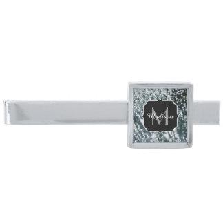 La plata chispea monograma congelado de las alfiler de corbata plateado