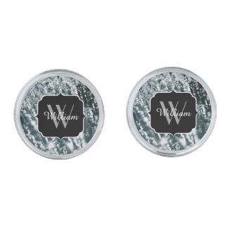 La plata chispea monograma congelado de las gemelos plateados