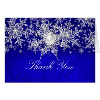 La plata cristalina azul del copo de nieve de la tarjeta pequeña