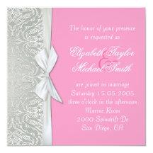 """La plata de lujo de la cinta/el boda rosado del invitación 5.25"""" x 5.25"""""""