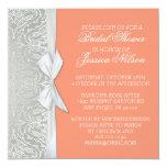 La plata de lujo de la cinta/la ducha coralina del invitación 13,3 cm x 13,3cm