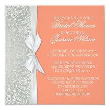 """La plata de lujo de la cinta/la ducha coralina del invitación 5.25"""" x 5.25"""""""