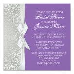 La plata de lujo de la cinta/la ducha púrpura del invitación 13,3 cm x 13,3cm