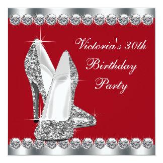 La plata elegante de la mujer y fiesta de invitación 13,3 cm x 13,3cm