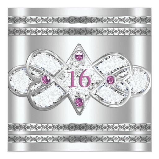 """La plata elegante embellecida invita invitación 5.25"""" x 5.25"""""""