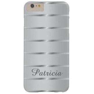 La plata elegante raya nombre de encargo funda de iPhone 6 plus barely there