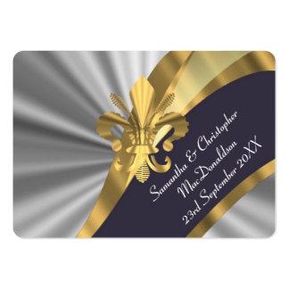La plata, favor del boda del oro le agradece tarjetas de visita grandes