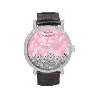 La plata florece rosa + Bokeh blanco - reloj femen