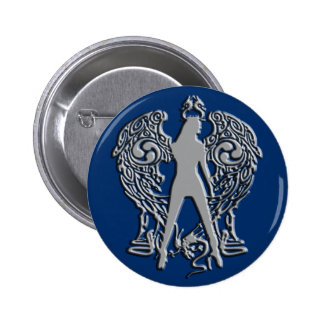 La plata graba en relieve el botón del ángel de la pin redondo de 2 pulgadas