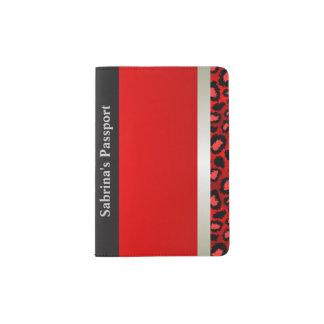 La plata metalizada y el leopardo rojo el | porta pasaporte