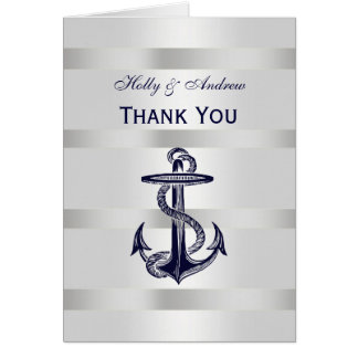 La plata náutica V blanco del ancla de los azules Tarjeta Pequeña