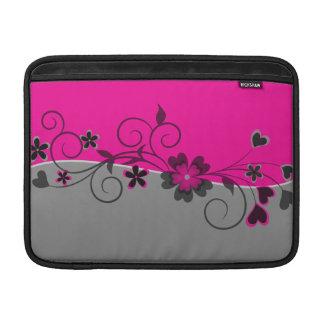 La plata negra rosada swirly florece y los fundas para macbook air