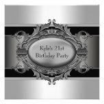 La plata negra sirve a la 21ra fiesta de cumpleaño invitacion personalizada