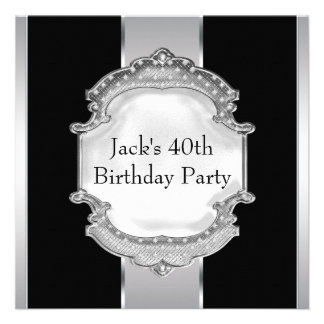 La plata negra sirve a la 40.a fiesta de cumpleaño invitacion personal