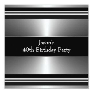 """La plata negra sirve a la 40.a fiesta de invitación 5.25"""" x 5.25"""""""