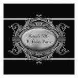 La plata negra sirve a la 50.a fiesta de cumpleaño anuncio personalizado