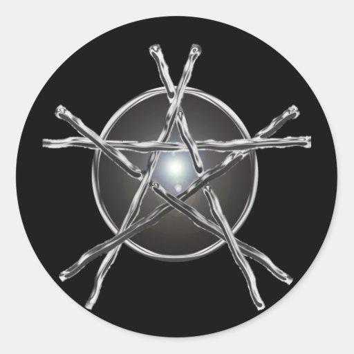 La plata pega al pegatina del Pentagram