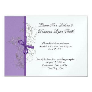 """La plata púrpura violeta remolina el boda blanco invitación 5.5"""" x 7.5"""""""