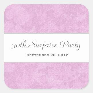 La plata rosada muda sale del fiesta de sorpresa pegatina cuadrada