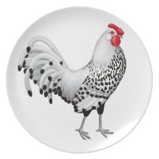 La plata Spangled la placa del gallo de Hamburgo Plato Para Fiesta