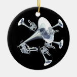 La plata toca la trompeta ornamento adorno de navidad