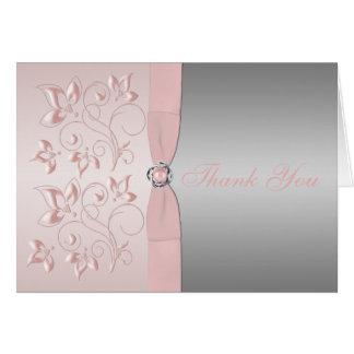 La plata y el nudo de amor floral del rosa le agra tarjeta pequeña