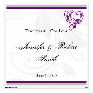 La plata y la pared floral púrpura del boda del