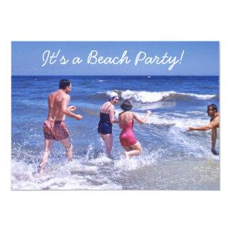 """La playa azul de los años 50 retros agita los invitación 5"""" x 7"""""""