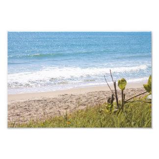 La playa azul del océano agita la fotografía cojinete
