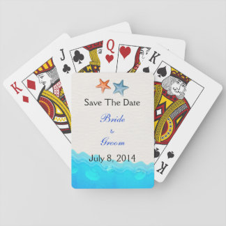 La playa con las estrellas de mar ahorra la fecha barajas de cartas