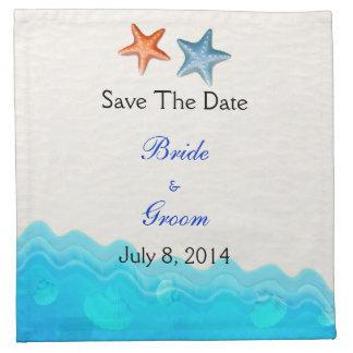 La playa con las estrellas de mar ahorra la fecha servilletas imprimidas