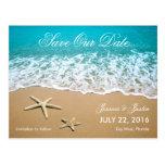 La playa con las estrellas de mar ahorra la postales