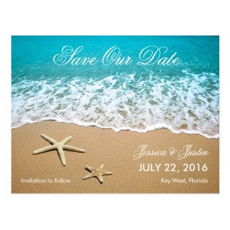 La playa con las estrellas de mar ahorra la postal