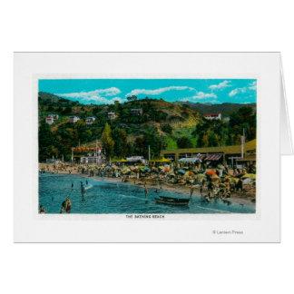 La playa de baño en Avalon, isla de Catalina Tarjeta De Felicitación